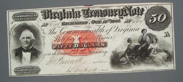 1862 Virginia Treasury Note $50